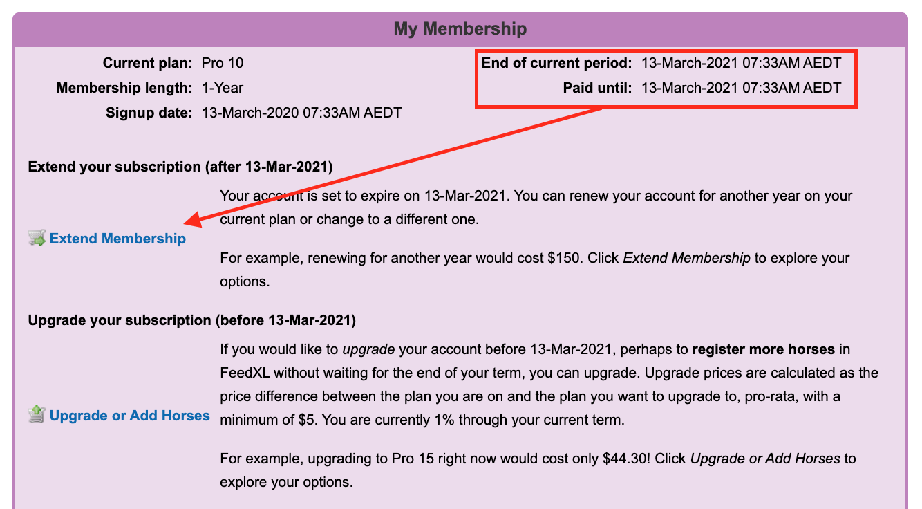 Image showing where to see the account expiry dates and the link to click to Extend Membership in FeedXL